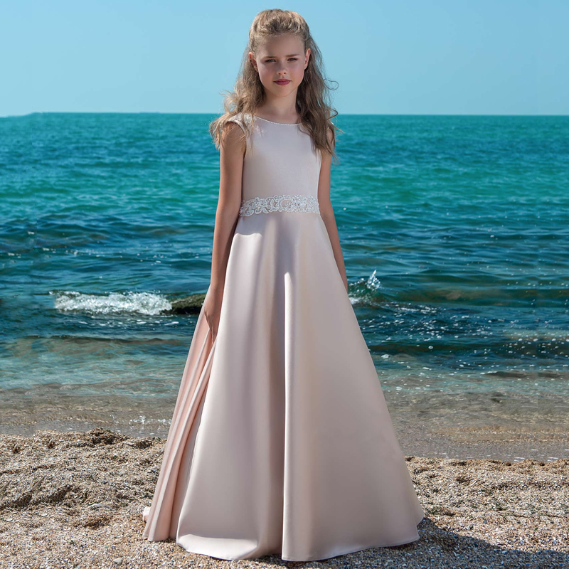 Vintage Satin   Dress   For Elegant Princess Beading Lace   Flower     Girls     Dresses   Backless Custom Made Vestido First Communion Gown