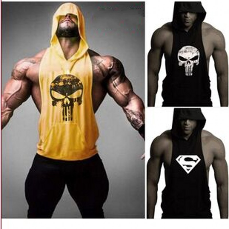 Skull ZYZZ Golds Bodybuilding Stringer Hoodies Stringer Hoodie Fitness Brand Tank Top Men Clothing Cotton Pullover Hoody