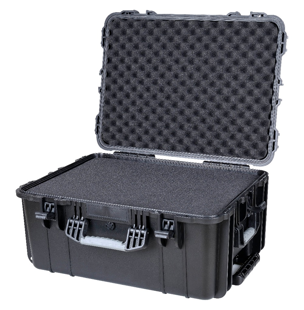 Outdoor PP material IP67 waterproof shockproof dustproof wheeled hard case with full precut foam full cube precut foam for case sq1284 without the hard case