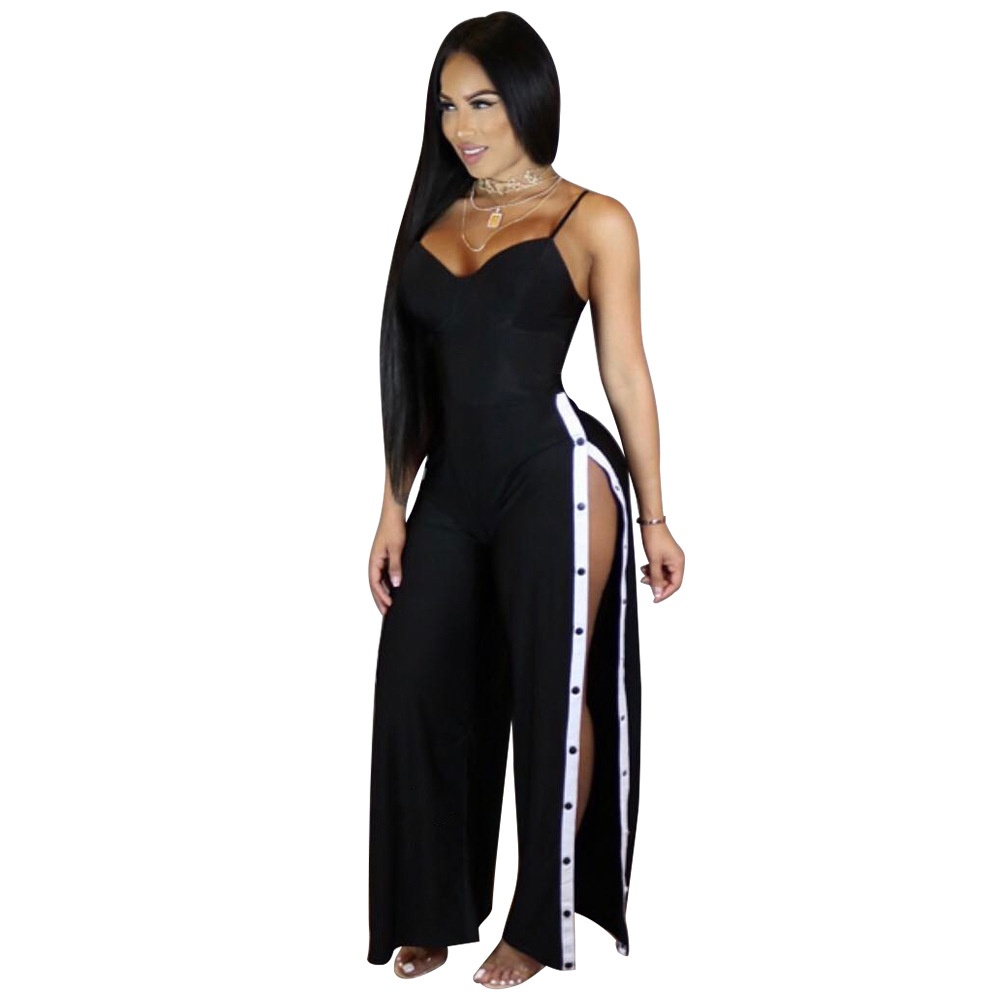 3ba1c1b8d5a9 2019 New black Spaghetti Strap Loose Jumpsuits Summer Leotard Full Bodysuit Overalls  Side Split Sexy Rompers Women Jumpsuit S-XL