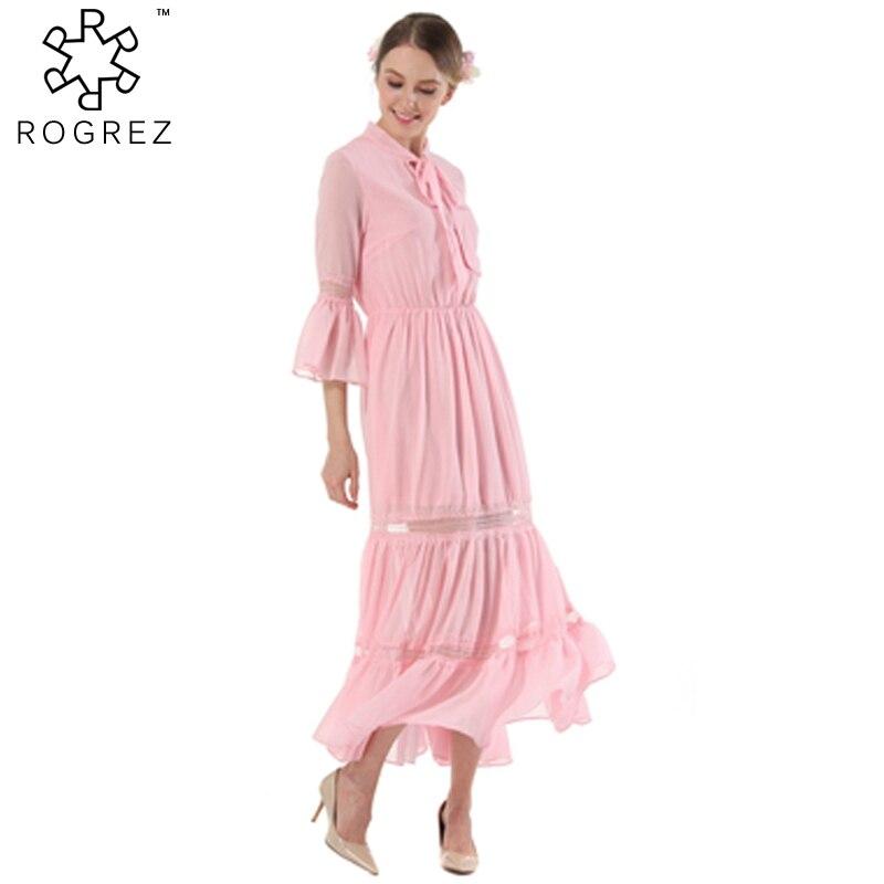 ROGREZ Plus Size Pink Blue Long Dress Spring Summer Vintage Long Sleeve Solid Quarter Flare Sleeve Chiffon Dresses For Women