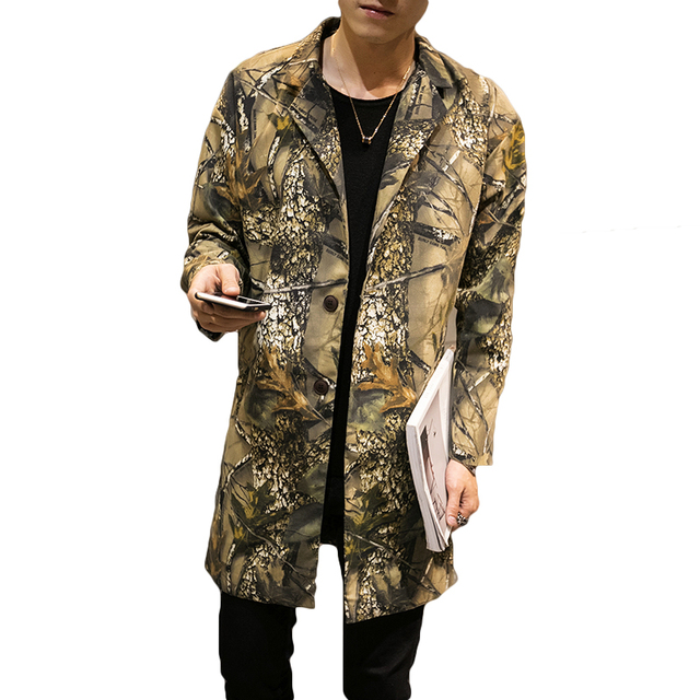 New Designs 3D Forest Print Men's Trench Brand Clothing Camouflage Long Style WindBreaker Jackets Men Hip Hop Coat Male Plus 5XL