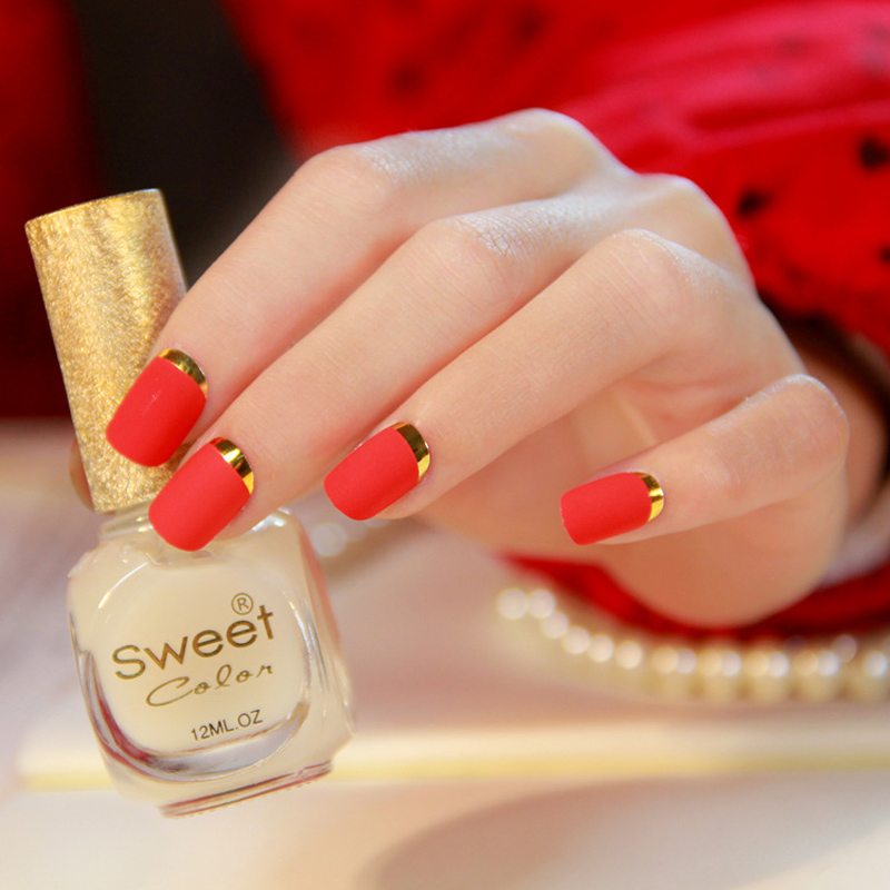 New Lady nails Fire Red Matte Fake Nails faux ongles Metallic Gold ...
