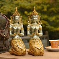 Thailand Gold Buddha Statue Southeast Asian Style Zen Ornament Buddha Figurine Crafts Resin Buddhism Statue For Home Garden Deco