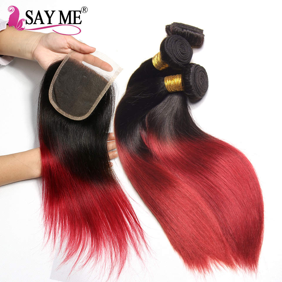 1B/Burgundy 3 Bundles Straight Hair Bundles With Closure Colored Ombre Human Hair Bundles With Closure 1B Red Remy Weave SAY ME
