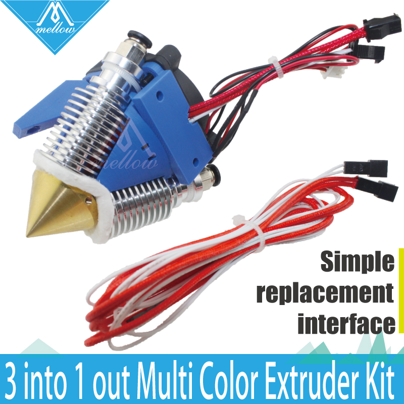 Ausgereifter 3D Drucker 12V / 24V Diamant Hotend Messing Multi Color Hot End Düse 3 IN 1 OUT 0.4mm Für 1.75mm, I3 Bowden Extruder Kit