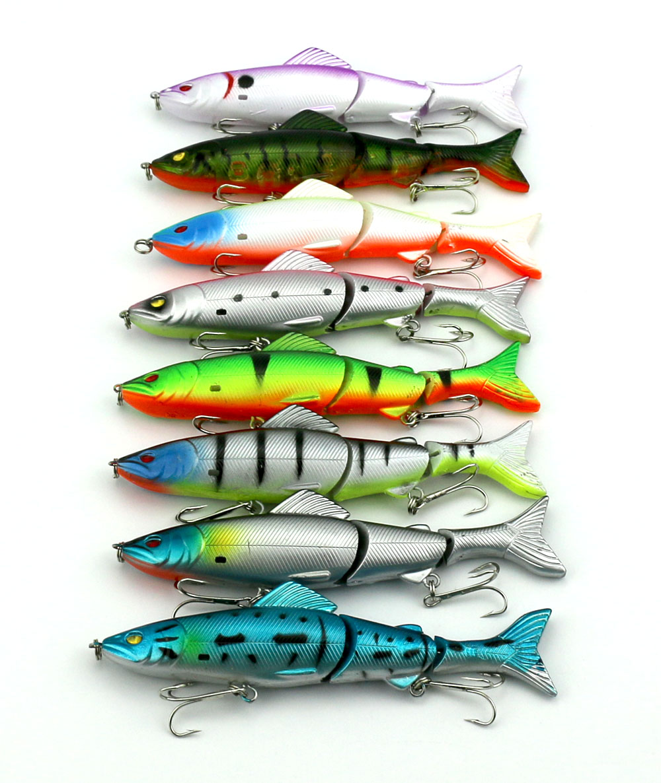 8PCS Multi-Jointed Fishing Lures Bass SwimBait CrankBait Hooks 18g 12.5cm Tackle