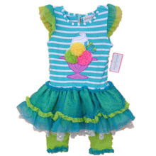 Original Brand, 6Sets/lot 2-8yrs Rare Editions Blue Striped 3D Ice Cream Stiched Vest Cute Dress and Leggings Summer Outfit
