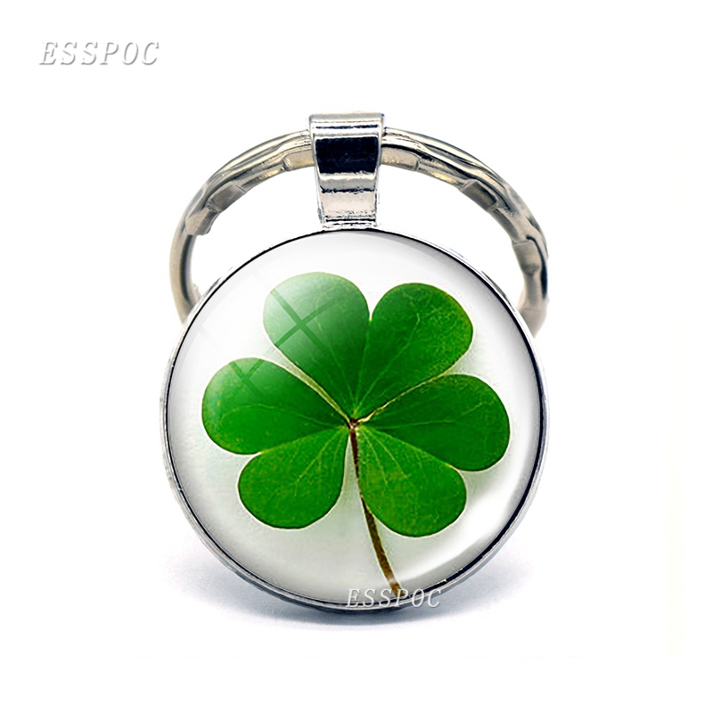 Four-leaf Clover Keychain Clover Glass Cabochon Metal Keyring Lucky Jewelry Lucky Gift for Friends