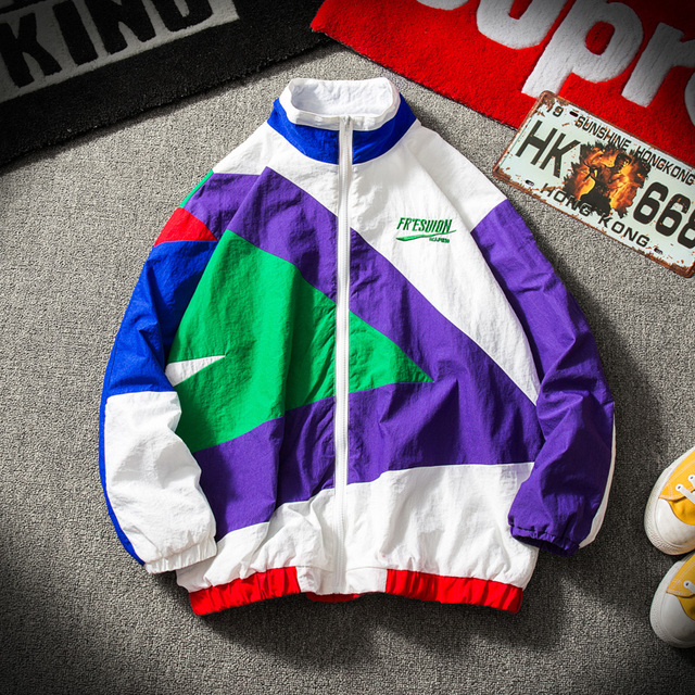 Japanese Streetwear Jacket Men Retro Color Stitching Full Zip Windbreaker Jacket Spring Autumn Fashion Casual Hip Hop Coat