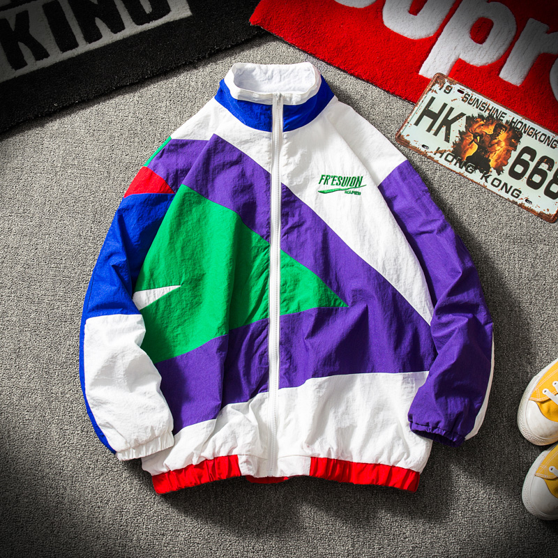 Japanese Streetwear Jacket Men Retro Color Stitching Full Zip Windbreaker Jacket Spring Autumn Fashion Casual Hip Hop Coat