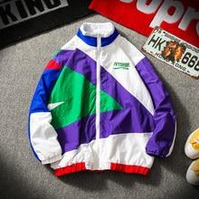 Japanese Streetwear Jacket Men Retro Color Stitching Full Zip Windbreaker
