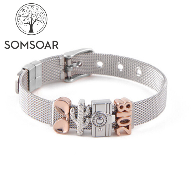Somsoar Jewelry 2018 travel Mesh Charm Bands Bracelet & Bangle Set with glasses & cactus & camera Slide Charms as Gift