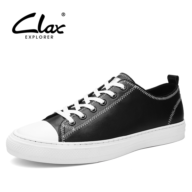 CLAX Fashion Casual Shoes Men Spring Summer Autumn British Shoe Black White Leisure Footwear Soft Leather Flats the spring and summer men casual shoes men leather lace shoes soled breathable sneaker lightweight british black shoes men