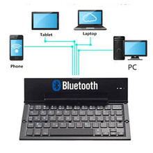 KuWfi Mini Bluetooth Folding Keyboard 64Keys Aluminum Alloy Dual Channel For Phone/PC/Laptop/Tablet
