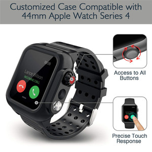 Image 5 - Silicone Waterproof Sport Case for Apple Watch Band 38mm 42mm 40mm 44mm Breathable Bracelet Strap for iWatch Series SE/6/5/4/3/2