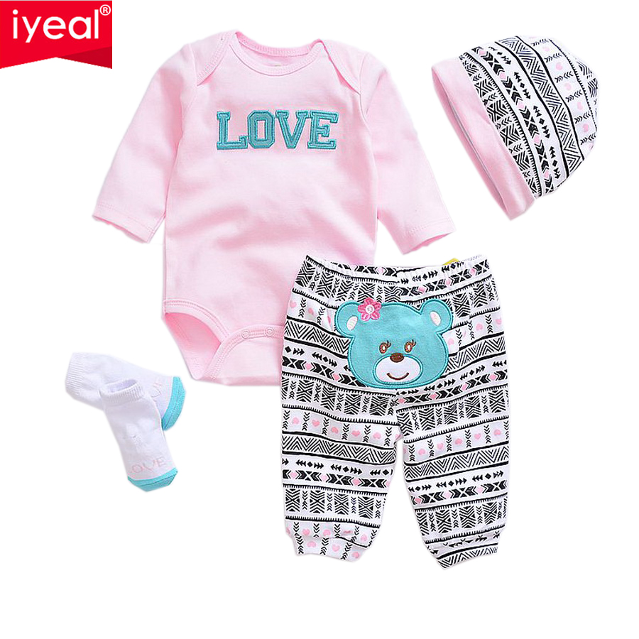 IYEAL Newborn Baby Romper Sets Spring Long Sleeves 100% Cotton Baby Girl Boy Clothes 2017 Fashion Unisex Infant Cartoon Outfit 3pcs set newborn infant baby boy girl clothes 2017 summer short sleeve leopard floral romper bodysuit headband shoes outfits