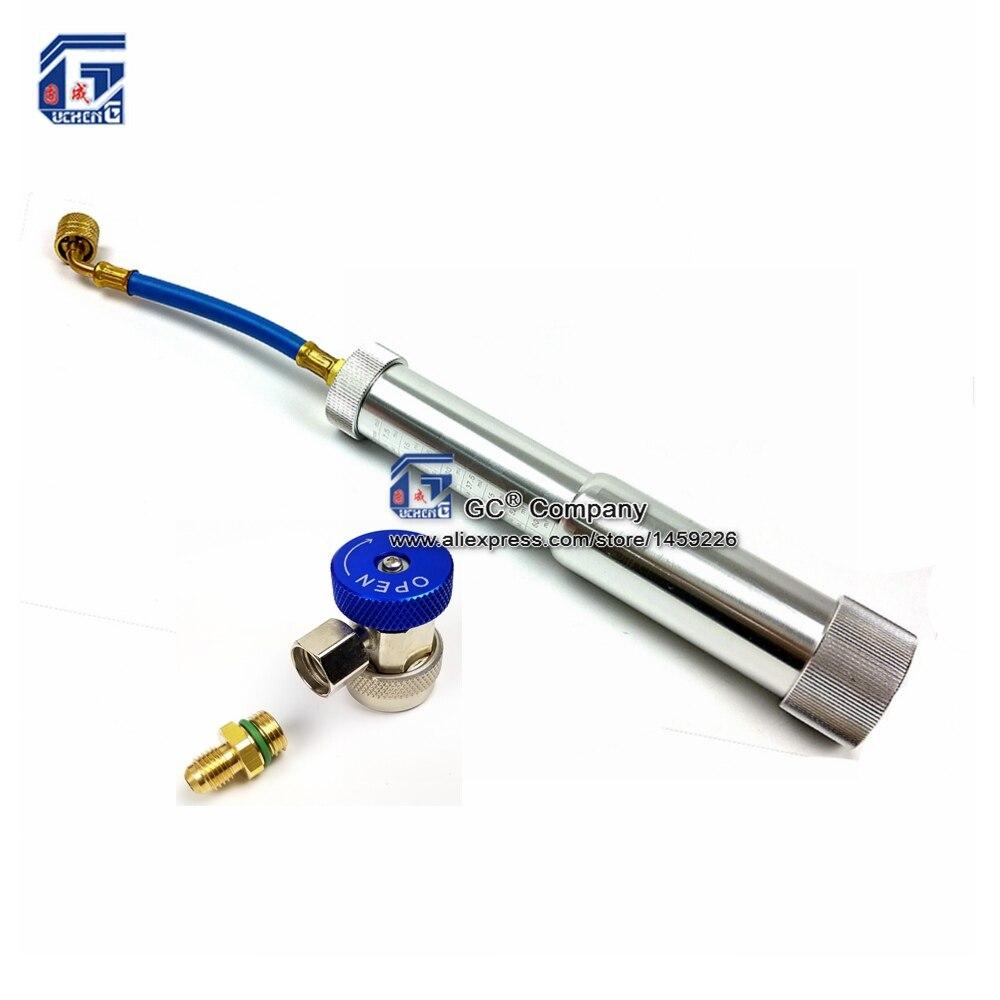 Olio/Colorante Iniettore R12 R134a R410a Girare A Mano Pompa Oliatore 1/4 oz-2 oz (7.5 ml-60 ml)