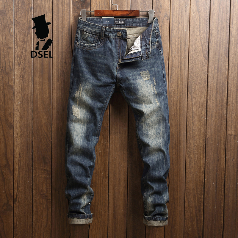 Fashion Dark Jeans Men Ripped Trousers Male High Quality Slim Fit Denim Jean Pants Original Dsel Brand Mens Jeans With Logo U625 patch jeans ripped trousers male slim straight denim blue jeans men high quality famous brand men s jeans dsel plus size 5704