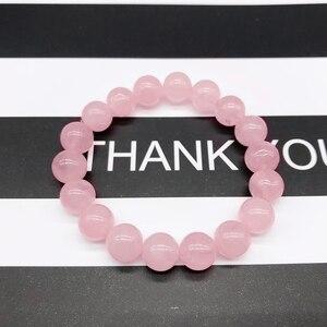 Браслет из розового кварца с кристаллами и розовой розой, эластичный шнур для браслета из натурального камня, подарок для женщин и любителей ювелирных изделий