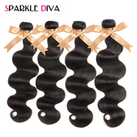 Sparkle Diva Hair Peruvian Body Wave Hair Weave 1 Piece 100% Human Hair Bundles 8-28 inch Natural Color Non-Remy Hair Extensions