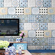 Classic Bohemian style wallpaper Southeast Asia Thai national waterproof faux tile Mediterranean TV background