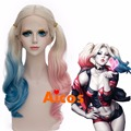 """22"""" Long Natural Wavy Blonde Pink Blue Mixed  Lace Front Synthetic Wig +wig cap"""
