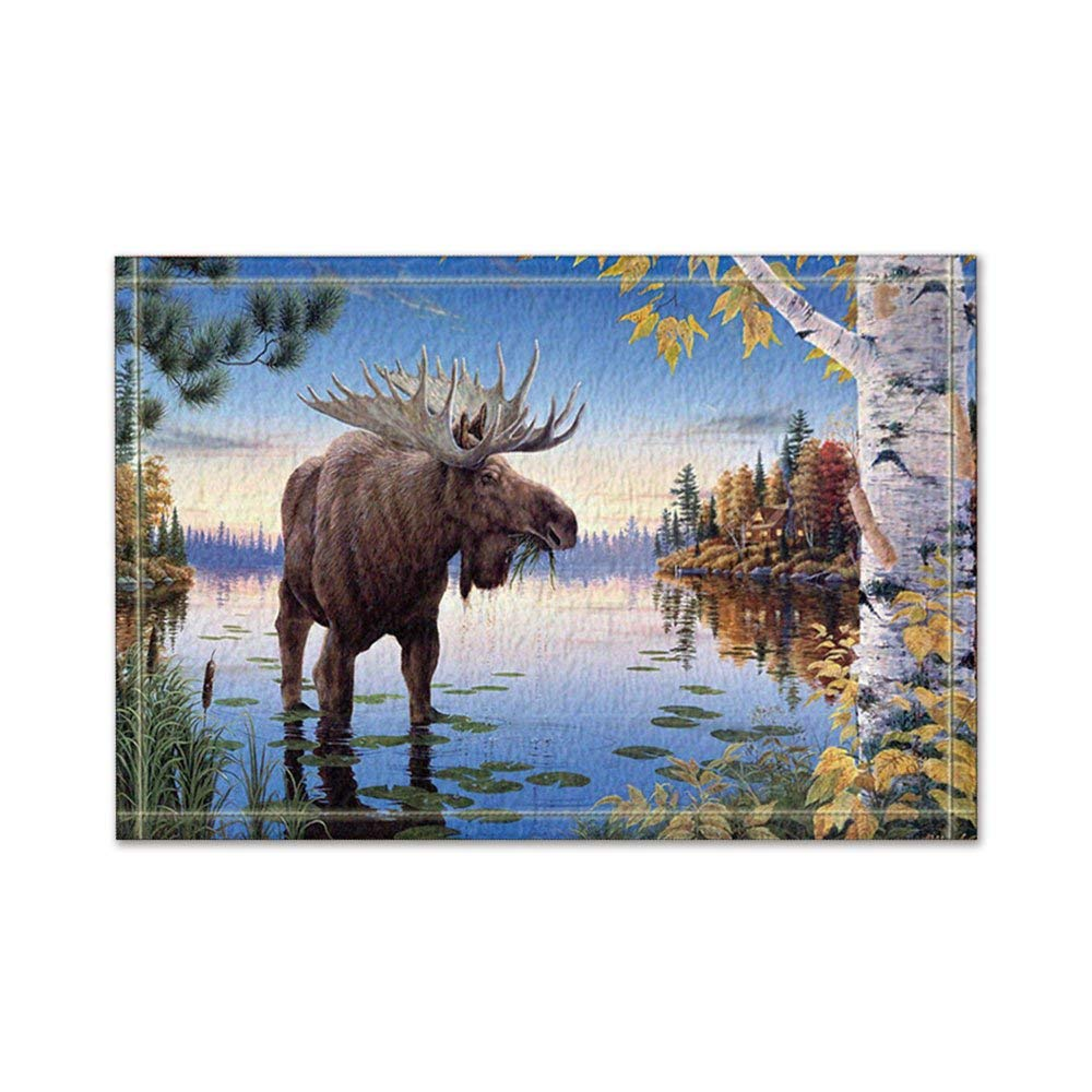 Moose Bath Rug: Moose Birch Trees By The River In Blue Bath Rugs Non Slip