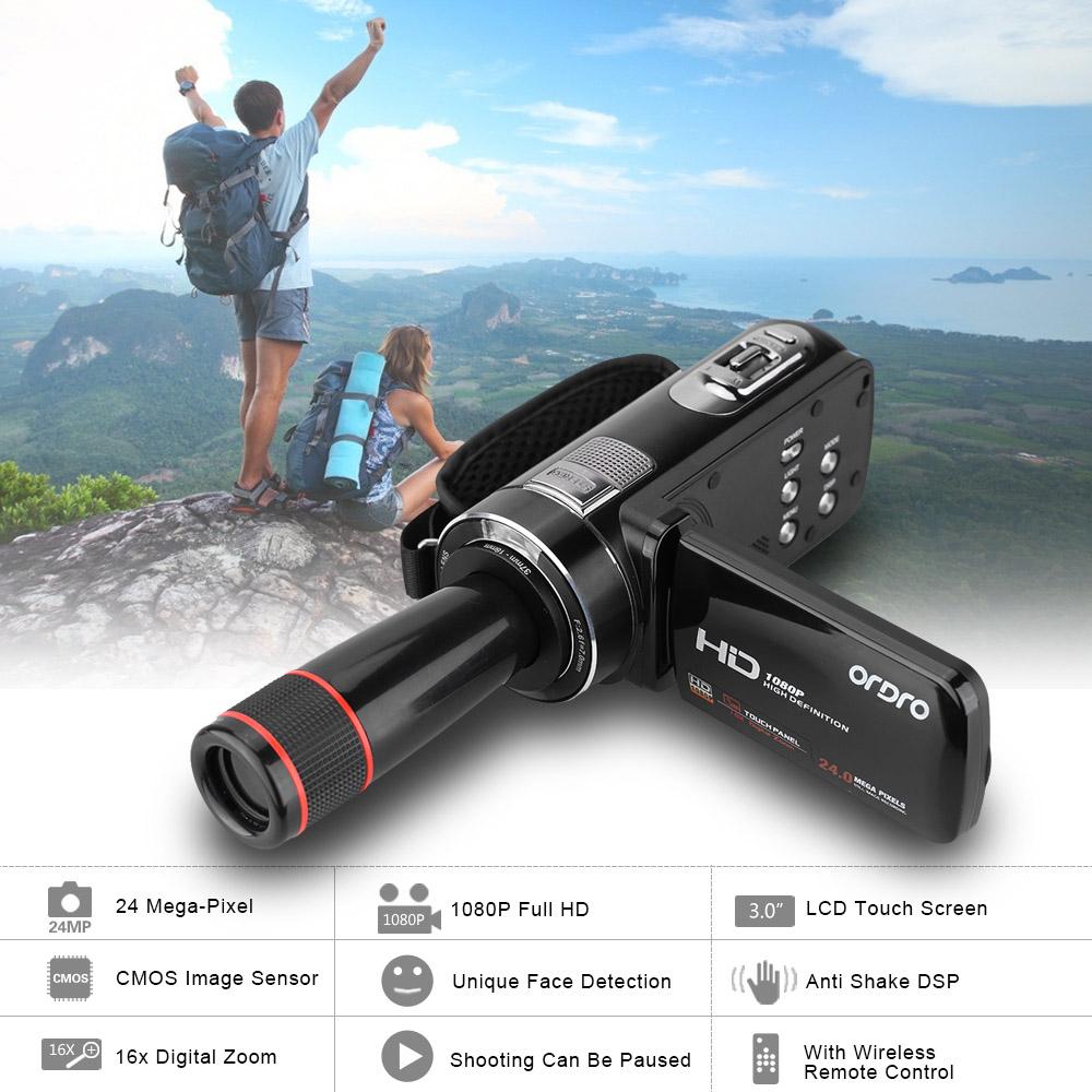 Prix pour Ordro hdv-z8 1080 p full hd numérique vidéo caméra lcd tactile écran camaras fotograficas digitales avec 12x téléobjectif mini dv