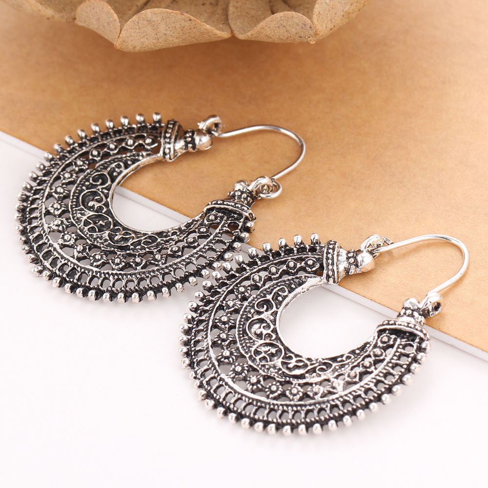 Silver Plated Earrings For Women Accessories Hollow Flower