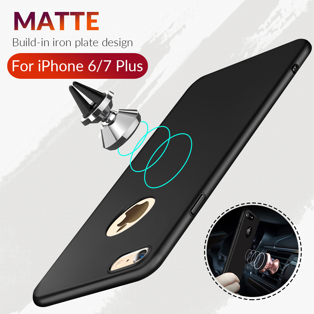 <font><b>Phone</b></font> <font><b>Case</b></font> For iPhone 6 S 6s Plus Cover 360 Protection PC hard <font><b>Case</b></font> For iPhone 7 7 Plus Built in Magnetic <font><b>Car</b></font> Holder Metal Plate