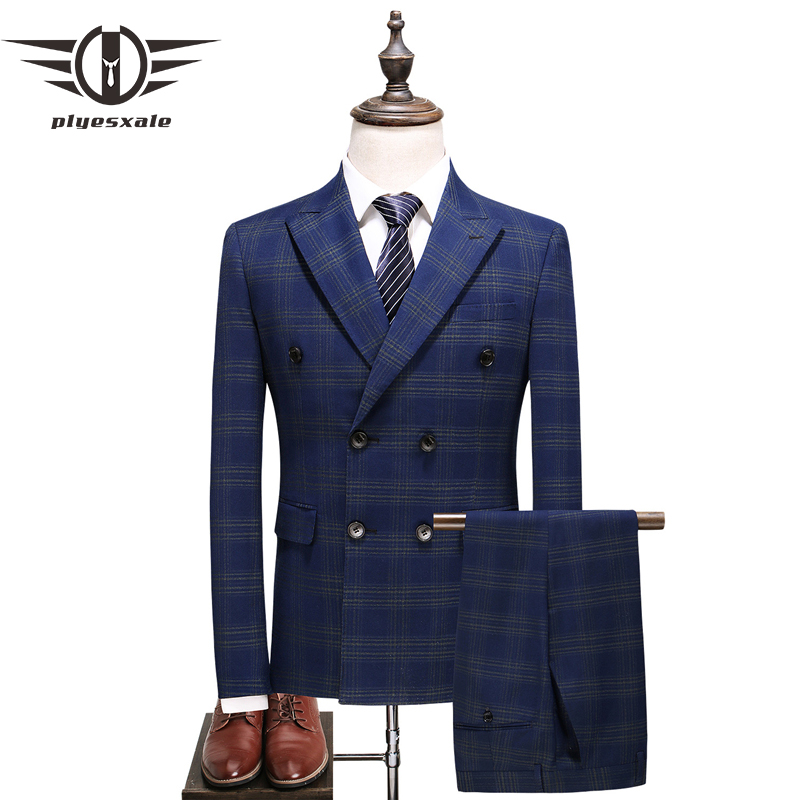 Plyesxale Mens Double Breasted Suits 2018 Spring Autumn 4XL 5XL Groom Wedding Suit 3 Piece Blue Striped Suit Business Wear Q370