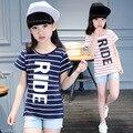Camiseta de las muchachas 2016 Del Verano Lindo de Rayas de Manga Corta Niños Camiseta de Las Muchachas 100% Del Algodón Del O-cuello, Altura 120-160 cm