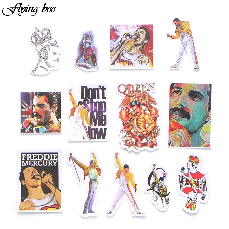 Image 2 - Flyingbee 13 Pcs Freddie Mercury Sticker Graffiti Rock Stickers for Kid DIY Laptop Luggage Phone Car Waterproof Sticker X0001-in Stickers from Consumer Electronics