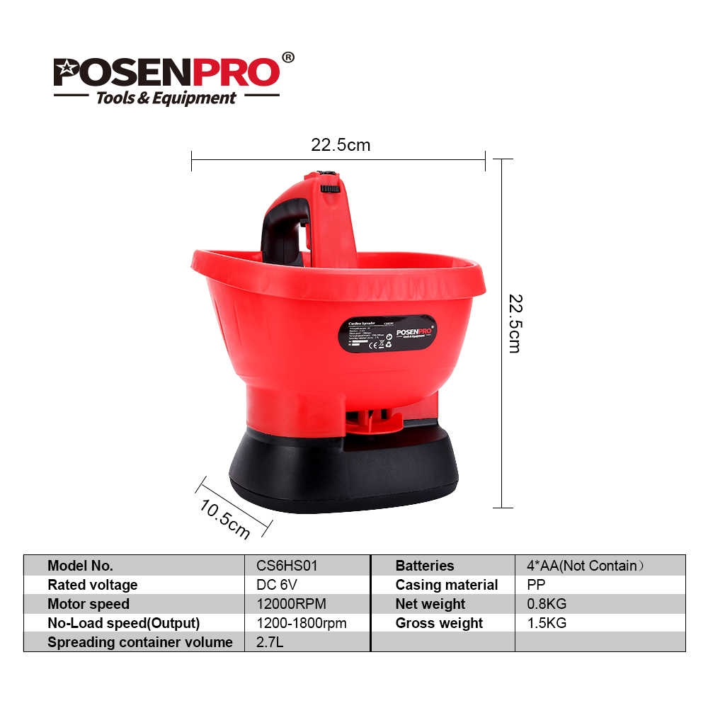 POSENPRO Cordless Spreader 6V AA Battery Hand-Held Spreader for Sowing  Seed,Feed,Weed Sower Agricultural Tool Garden Tool