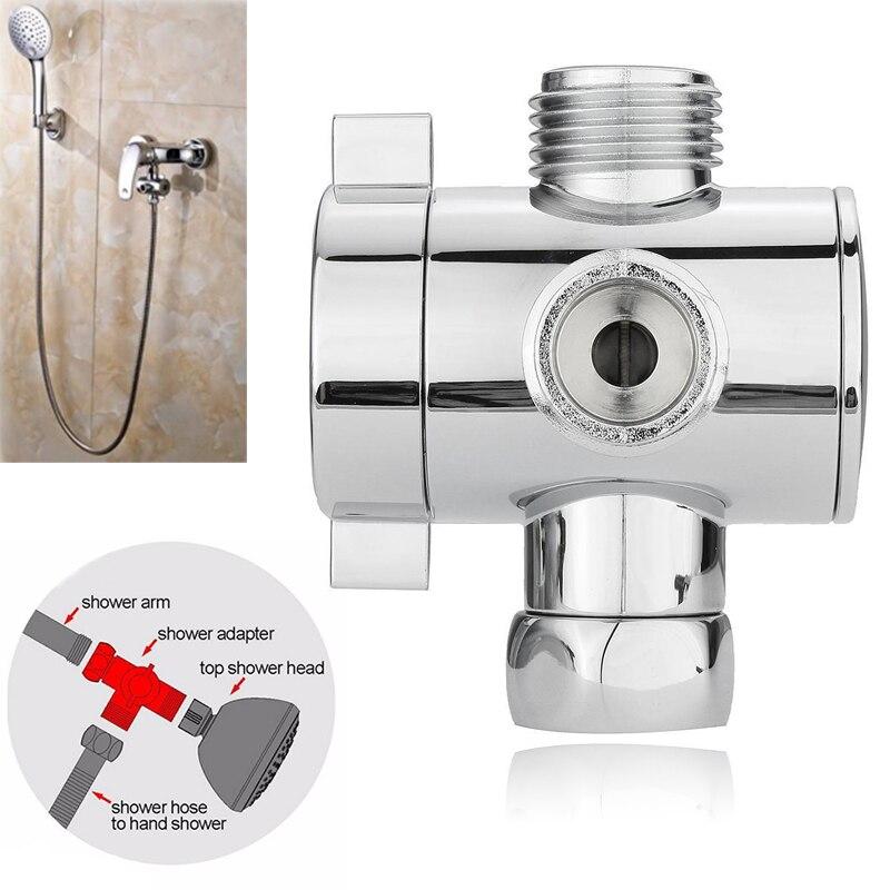 1/2inch 3 Way Adjustable T-adapter Shower Head Diverter Valve Bath Shower Head Arm Mounted Diverter Valve for Toilet Bidet