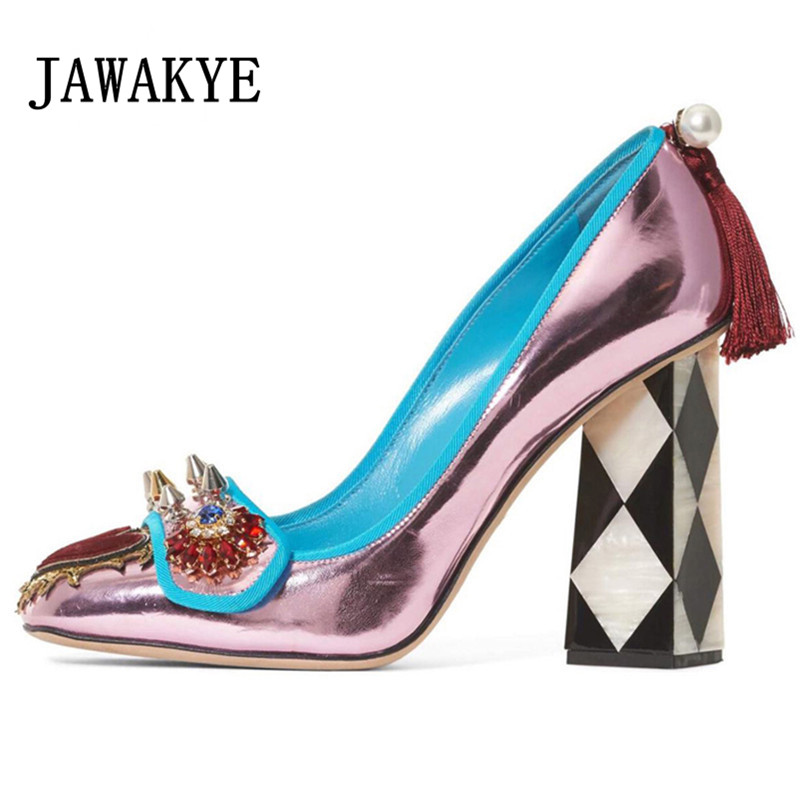 2019 Sweet Glossy Crystal Rivets Mary Janes Shoes For Women Square Toe Strange High Heels Women Pumps Pearl Tassels Party shoes2019 Sweet Glossy Crystal Rivets Mary Janes Shoes For Women Square Toe Strange High Heels Women Pumps Pearl Tassels Party shoes