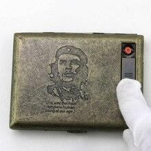(20 מקלות) בציר מתכת אלקטרוני USB סיגריות מקרה טעינה חשמלי חוט Windproof מצית קופסא סיגריות מעשן מתנה