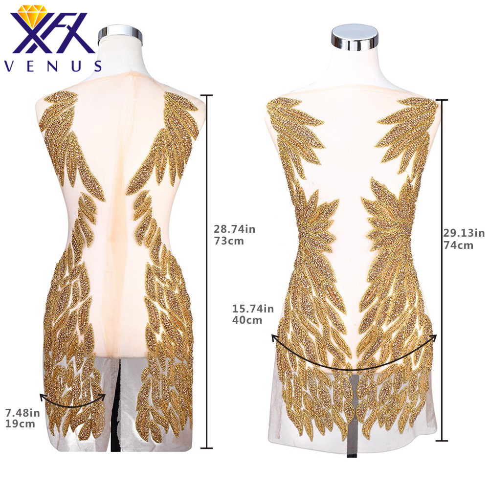 XFX VENUS Rhinestones Sequins Beads Applique Crystals Decorative Long Patches Bridal Long Trim Dress Sewing Embroidered Patches
