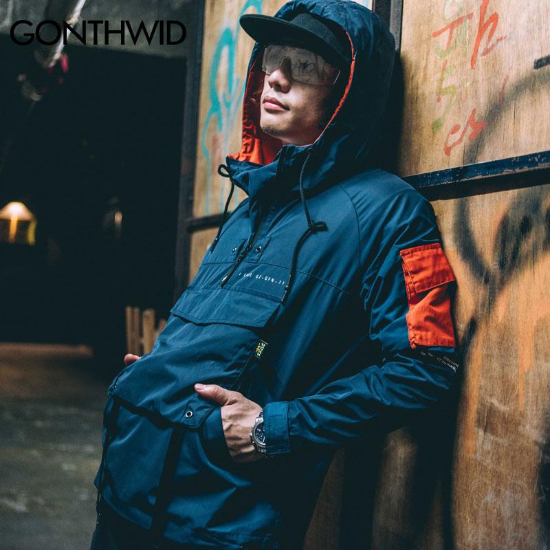 b7d7453eb29 GONTHWID Front Pocket Pullover Jackets Men 2017 Autumn Half Zipper Hoodie  Jacket Male Hip Hop Casual Windbreaker Coat Streetwear