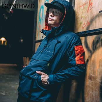 GONTHWID Front Pocket Pullover Jackets Men 2019 Autumn Half Zipper Hoodie Jacket Male Hip Hop Casual Windbreaker Coat Streetwear