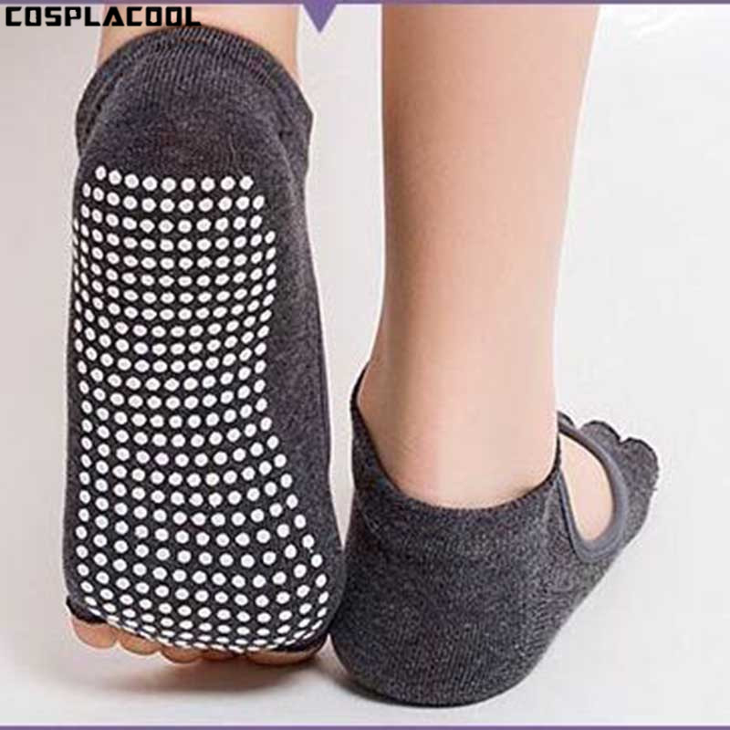 [COSPLACOOL]Socks Women Dance Half Toe Ankle Grip Short Backless Pilates Socks Non Slip Toe Socks Full Grip Five Finger Meias