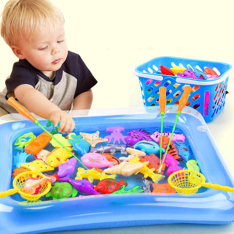 Children's 14pcs/Set Magnetic Fishing Parent-child interactive Toys Game Kids 1 Rod 1 net 12 3D Fish Baby Bath Toys outdoor toy