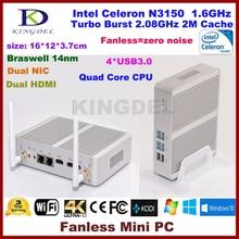 Mini PC Windows 10, Intel Celeron N3150 Braswell CPU, 4GB RAM+64G SSD, 2*HDMI, 2*NIC, 4*USB 3.0,HTPC NC690