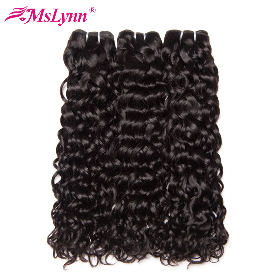Mslynn Hair Water Wave Bundles 3 Bundle Deals Malaysian Hair Weave Natural Color 100% Human Hair Non Remy Hair Extension
