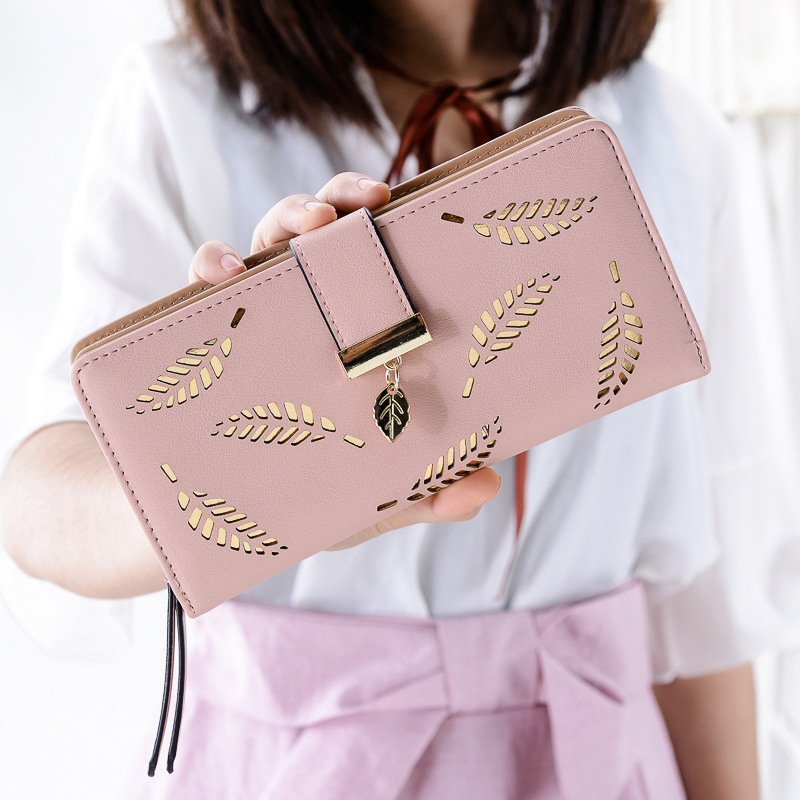 Fashion Leather Wallets and Purses Women Leaf Hollow Out Long Wallet Phone Bag Card Holder Coin Pocket Purses Money Bags brand double layer zipper wallet phone bag purses women money bag high quality waterproof nylon clutches coin pocket