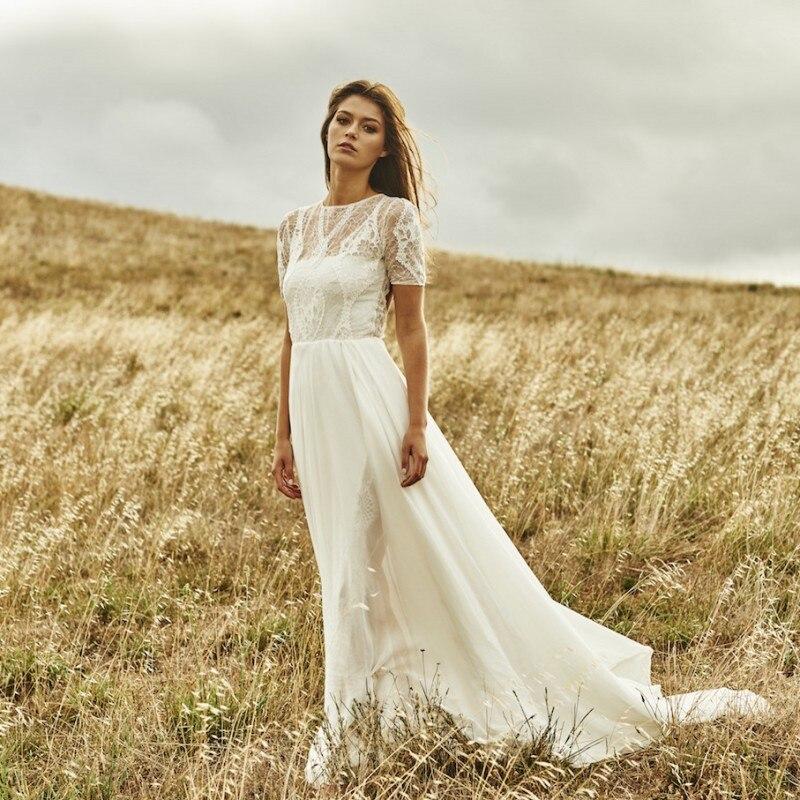 bcf6f68cc Vestido De Novia 2017 Elegant High Slit A Line Wedding Dress Short Sleeves  Robe Mariage Bridal Gowns Plus Size Lace Wedding long-in Wedding Dresses  from ...