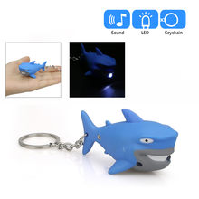 2019 Bonito Dos Desenhos Animados do Tubarão Azul Chaveiro Com LED night Light Som Keyfob Presente Toy Kids azul presentes Drop Shipping(China)