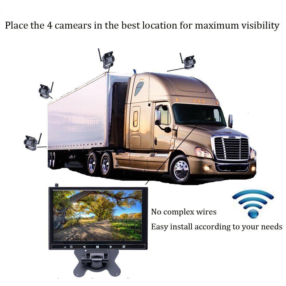 AMPrime 9 Zoll Auto Parkplatz Monitor mit 18 IR Rückansicht Kamera 2,4 GHz wireless Transmitter Receiver Kit für Lkw trailer Bus