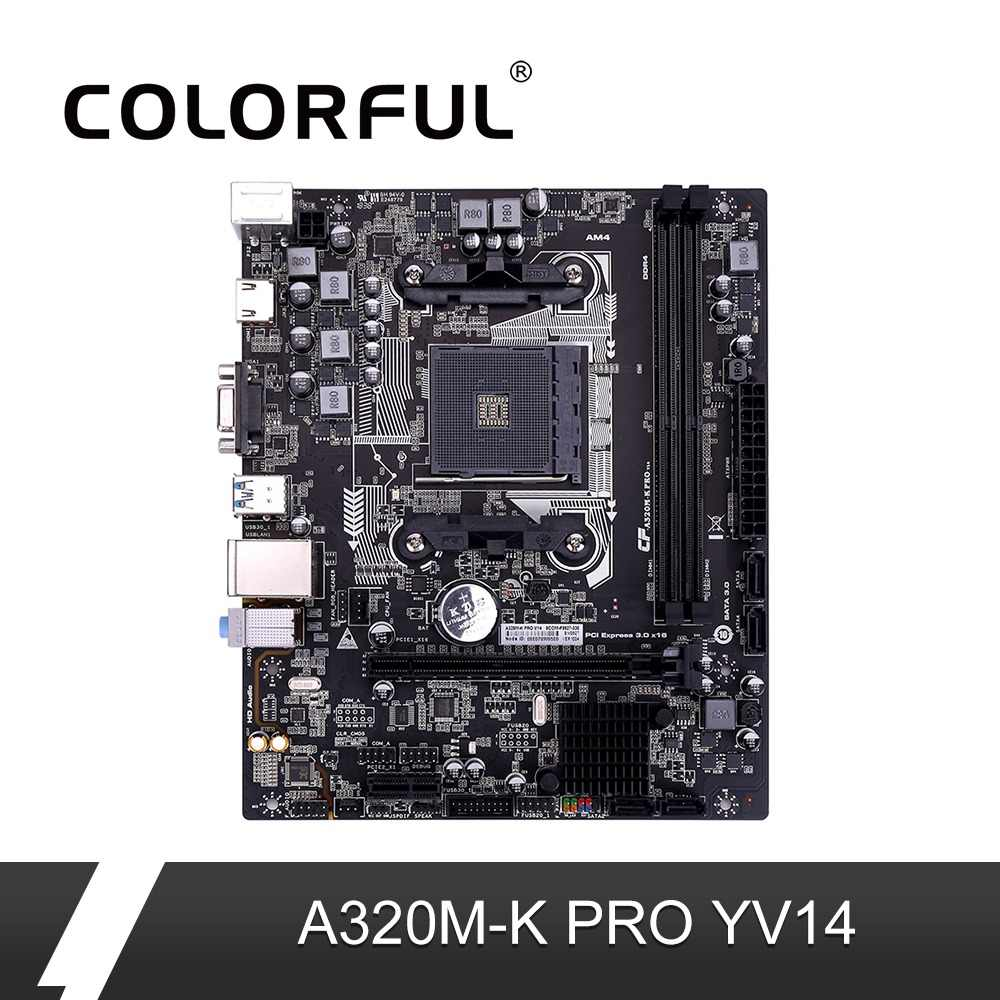 Colorful A320M-K PRO YV14 iGame Motherboard AMD M-ATX Ryzen Processors Gaming A320 Mainboard For Socket AM4 DDR4 USB3.0 SATA3.0